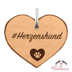 "Ledermarke ""Herzenshund"" als Herz"
