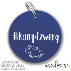 """Kampfzwerg"" Pferdemarke blau"