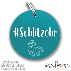 """""""Schlitzohr"""" Pferdemarke türkis"""