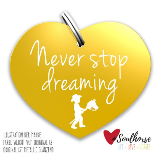 """""""Never Stop dreaming"""" gold"""