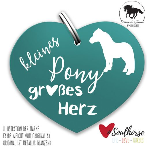 """""""Kleines Pony - großes Herz"""" Herzmarke türkis"""