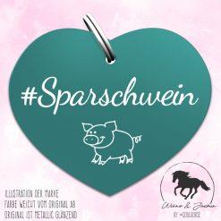 """""""Sparschwein"""" Herzmarke türkis"""