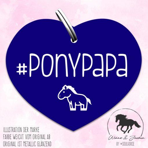 """Ponypapa"" Herzmarke blau"