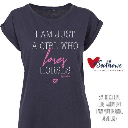 """Loves horses"" T-Shirt locker geschnitten"
