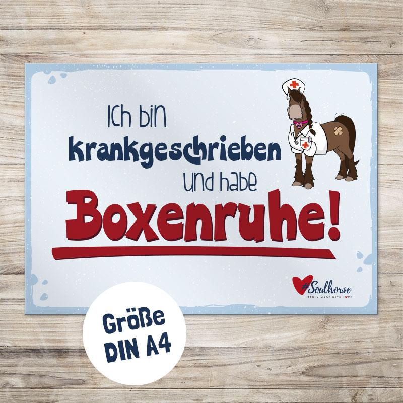 """Boxenschild """"Boxenruhe"""" DINA 4"""